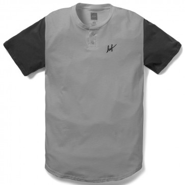 HUF SCRIPT HENLEY Shirt - Athletic Heather / Black