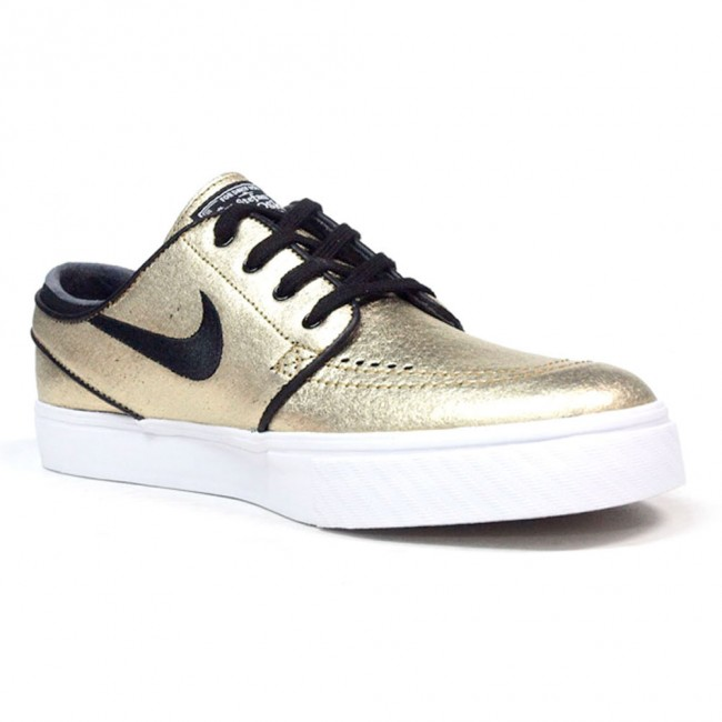 pretty nice 0834b 41754 Nike SB Zoom Stefan Janoski L Metallic Gold   White   Gum Light Brown    Black Skate Shoes