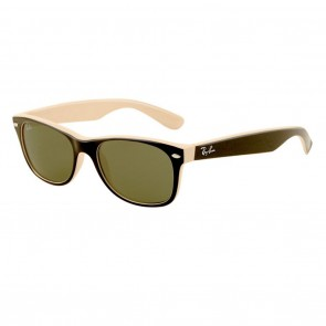 Ray-Ban RB2132 NEW WAYFARER 55mm Black Light Brown Green Classic G-15 Sunglasses