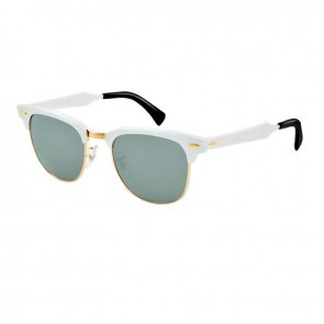 Ray-Ban RB3016 CLUBMASTER Aluminum Brushed Silver  Arista  Grey Mirror Sunglasses