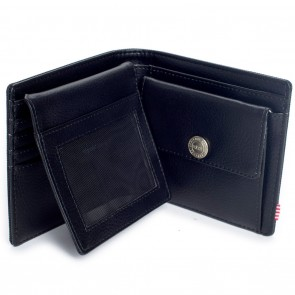 Herschel Hank Large Wallet Black Pebbled Synthetic Leather