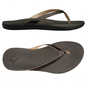 OluKai Ho'opio Leather Onyx / Black Womens Sandals