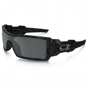 Oakley OIL RIG Polished Black / Silver Ghost Text Black Iridium Sunglasses