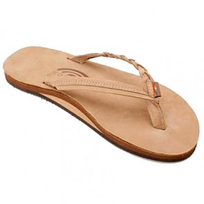 Rainbow Flirty Braidy Single Layer Premier Leather Sierra Brown Ladies Sandals