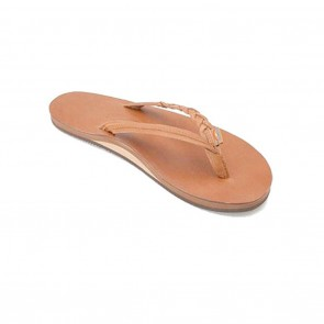 Rainbow Flirty Braidy Single Layer Classic Leather Tan Ladies Sandals