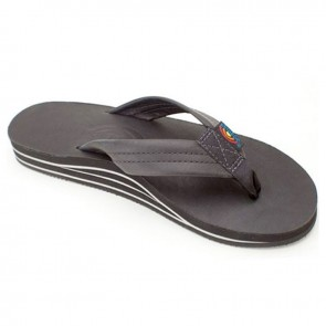 Rainbow Double Layer Premier Leather with Arch Support Black Ladies Sandals