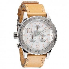 Nixon 42-20 Chrono Leather Natural with  Silver Watch-A424-1603