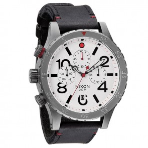 Nixon 48-20 Chrono Leather Gunmetal with  White Watch-A363-486