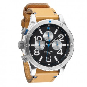Nixon 48-20 Chrono Leather Natural with  Black Watch-A363-1602