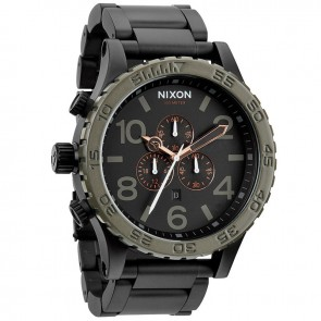 Nixon 51-30 Chrono Matte Black with  Industrial Green Watch-A083-1530