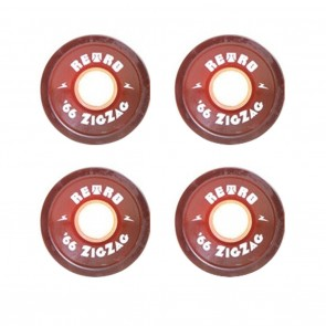 Retro Skateboard Wheels - 70mm ZigZags Red (78a) - Set of 4