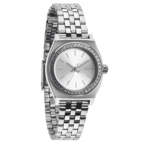 Nixon SMALL TIME TELLER All Silver Crystal Watch-A399-1874