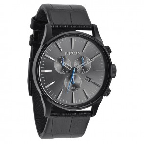 Nixon SENTRY Chrono Leather Black Gator Watch-A405-1886