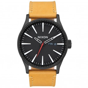 Nixon SENTRY LEATHER All Black / Goldenrod Watch