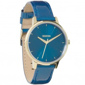 Nixon KENSINGTON Leather Blue Champagne Gold Patent Watch