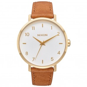 Nixon ARROW LEATHER Gold / White / Saddle Watch