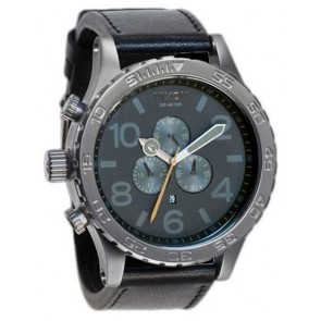 Nixon 51-30 Chrono All Gunmetal with  Black Leather Watch-A124-680