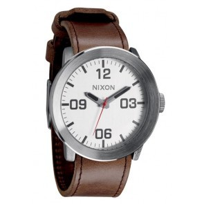Nixon CORPORAL Silver with  Brown Watch-A243-1113
