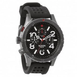 Nixon 48-20 Chrono P Gunmetal with  Black with  Red Watch-A278-1426