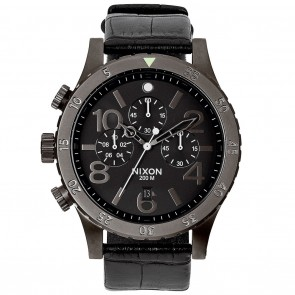 Nixon 48-20 Chrono Leather Black Gator Watch