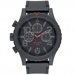 Nixon 48-20 Chrono Leather All Black with Stamped Watch