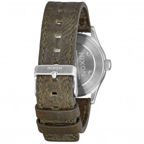Nixon Sentry Leather 38 Purple / Olive Watch