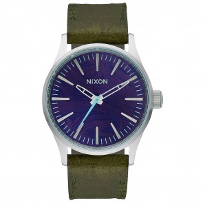 Nixon Sentry Leather 38 Watch - Purple / Olive