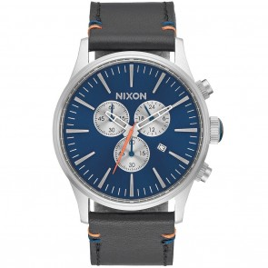 Nixon SENTRY Chrono Leather Blue Sunray Watch
