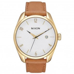 Nixon BULLET LEATHER Gold with Saddle Watch