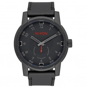 Nixon PATRIOT LEATHER All Black with Stamped Watch