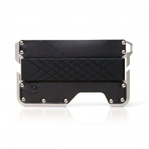 Dango Dapper Wallet Sable Black Genuine Leather on Satin Silver Anodized Aluminum Chassis