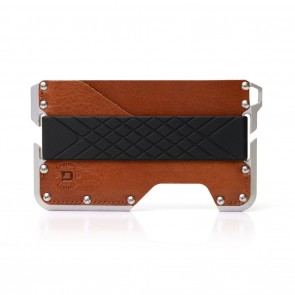 Dango Dapper Wallet Golden Whiskey Genuine Leather on Satin Silver Anodized Aluminum Chassis