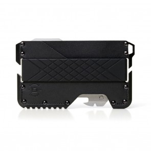Dango Tactical Wallet Jet Black Genuine Leather on Black Anodized Aluminum Chassis + MT02 Multi-Tool