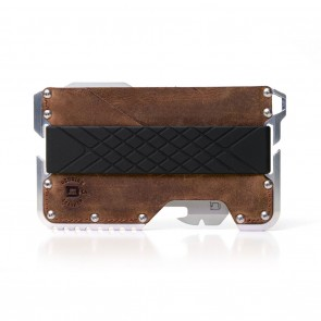Dango Tactical Wallet Raw Hide Genuine Leather on Raw Aluminum Chassis + MT02 Multi-Tool