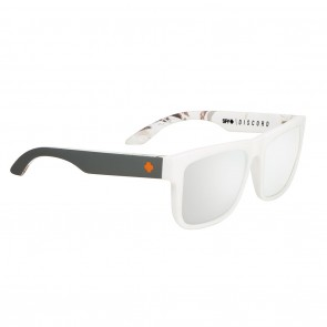Spy DISCORD Soft Matte White Decoy Real Tree with Happy Grey Green Polarized Silver Mirror Sunglasses