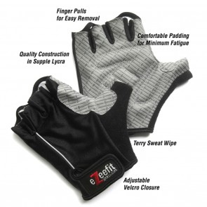 EzeeFit Bike Gloves - Black / Black