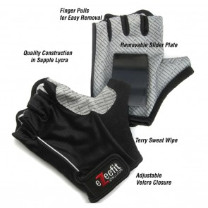 EzeeFit Skate Slider Gloves - Black / Black