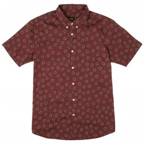 RVCA Mens Shirt - Ring Short Sleeve Tawny Port