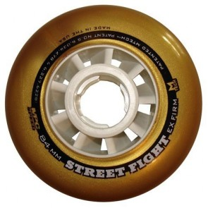 MPC Street Fight White / Metallic Gold Outdoor Inline Wheels (X Firm) - 100mm