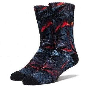 HUF Lava Red Outdoor Plantlife Crew Socks