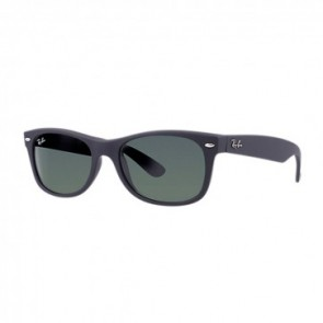 Ray-Ban RB2132 NEW WAYFARER 55mm Matte Rubber Black  Green Classic G-15 Sunglasses