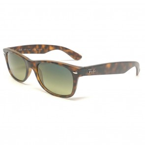 Rayban RB2132 NEW WAYFARER 55mm Matte Havana Blue and Green Mirror Polarized Sunglasses