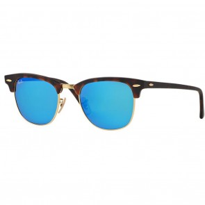 Ray-Ban RB3016 CLUBMASTER Sunglasses - Tortoise-Gold Blue Mirror