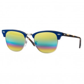 Ray-Ban RB3016 CLUBMASTER 51mm Blue Gold Rainbow Flash Sunglasses