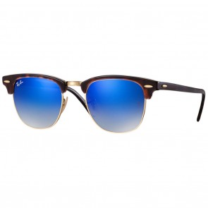 Ray-Ban RB3016 CLUBMASTER Sunglasses - Tortoise-Gold Blue Gradient Flash
