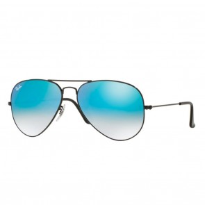 Ray-Ban AVIATOR 62mm Black w/ Blue Mirror Sunglasses