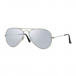 Ray-Ban AVIATOR MIRROR 58mm Sunglasses in Silver w/ Polarized Grey Classic