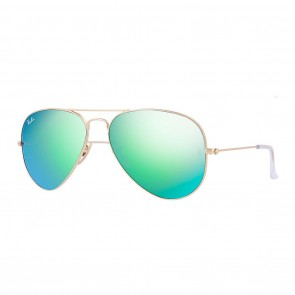 Ray-Ban AVIATOR Large 55mm Matte Gold / Green Flash Mirror Sunglasses