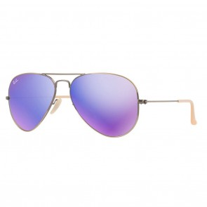 Ray-Ban AVIATOR Large 55mm Demiglos Brushed Bronze / Blue Mirror Sunglasses