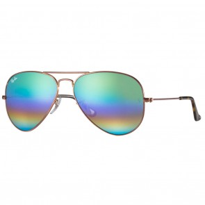 Ray-Ban RB3025 AVIATOR LARGE 58mm Bronze-Copper Green Rainbow Flash Sunglasses
